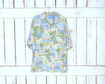 Vintage mens blue/tan tropical flamingo Hawaiian tiki silk luau shirt/palm tree/ocean/beach button down short sleeve shirt/xlarge