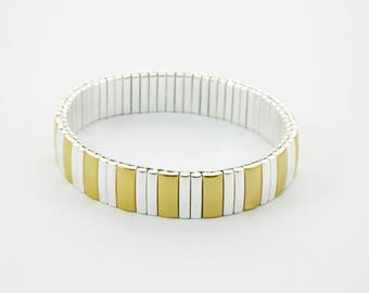 Gold Silver Stretch Bangles - Set of 5 Bracelets - 5 PCs