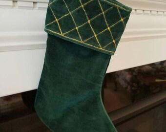 Vintage Green Velvet Christmas Stocking with Gold Trim