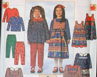 Girls Size 5 6 6x Simplicity 7732 Dress or Tunic, Jumper Pants Knit Top Shirt Wardrobe Causual Kids Child  Sewing Pattern Sew Uncut