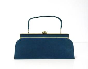 Vintage Deep Teal Handbag / Vintage velveteen purse