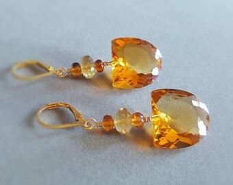 Natural Citrine Hessonite Garnet Gemstone Earrings in Gold Fill. November Birthstone Gift for Her