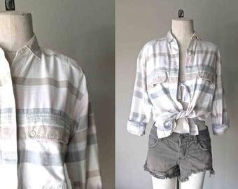 Vintage 90's hipster shirt PALE STRIPES soft cotton button-up - S/M