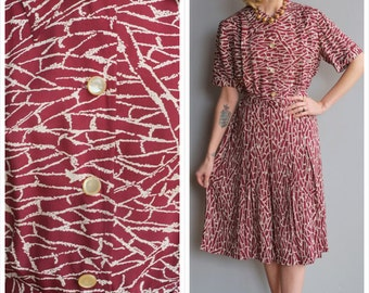 1940s Dress // Bamboo Print Rayon Dress // vintage 40s cold rayon dress