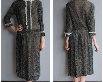 1920s Dress // Daisy Voile Dress // vintage 20s dress
