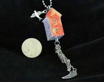 OOAK Birdhouse Necklace, Handmade, Multi-color, from Bluebird Creations, Item #2014