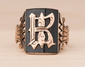 Letter R Victorian Signet Ring with Onyx 9k Rose Gold