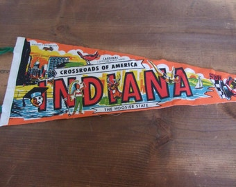 Indiana State Souvenir Felt Pennant The Hoosier State