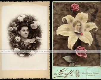 Two Unusual Composite Floral Cabinet Cards - One Color - Memorial Photo?