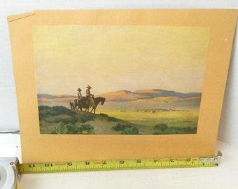 vintage print of cowboys ephemera altered art collage paper craft advertising