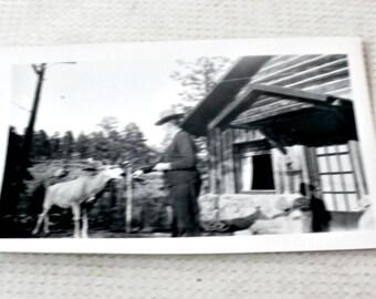 vintage photo man and deer black white ephemera collectible hunting