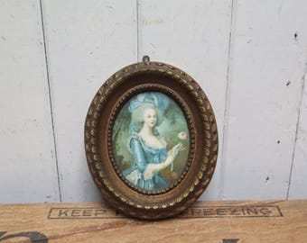 Oval antiqued gold framed Edwardian/ Victorian Lady In Blue Dress and feather hat
