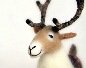 Christmas Reindeer - Anderson - Felt Toy. Art Puppet, Stuffed Animal Marionette  Deer Felted Toy Woodland Animals Christmas Gift. beige