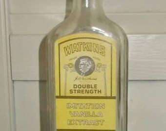 Vintage EMPTY 1960's or 1970's Watkins Double Strength Imitation Vanilla Bottle with Cork Stopper