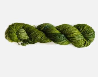 "Semisolid ""Greenery"" sock yarn, hand dyed - 4 ply fingering, 75/25 superwash merino and nylon, Sock&Roll base -"