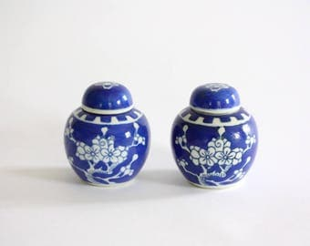 Pair of Small Vintage Blue and White Porcelain Prunus Ginger Jars