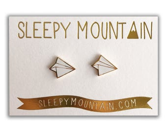 Paper Plane Earrings - Gold Plated Studs