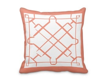 Lattice Throw Cushion Cover, Coral Hand Made Pillow Cover, Orange Lattice Pillow Cover, Geometric Throw Pillow Cover, Hand Made Pillow
