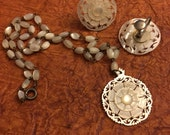 Mother of pearl car necklace and earring set