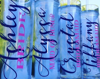 Set of 5, Personalized tumblers, bridesmaid gifts, bridesmaid tumblers, bachelorette party, girls weekend