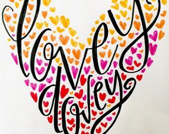 lovey dovey | handlettered valentine heart printable art