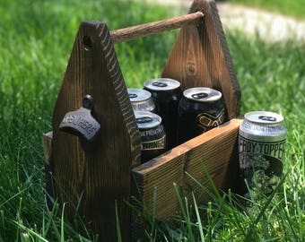 Wooden Beer Carrier with Bottle Opener - Handmade (FREE shipping!)