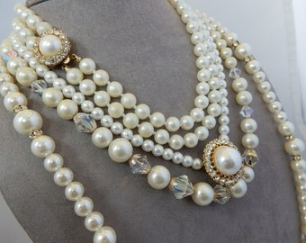 Lot of 4 Vintage Fancy Pearl Necklaces Assorted Lengths Lot 4