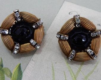 Vintage HOBÉ Black & Gold w/ Rhinestone Clip On Earrings    OV28