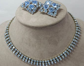 Silver KRAMER Signed  Blue Rhinestone Choker Necklace and Earrings   OY20