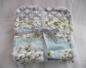 Baby Boy Rag Quilt Burp Towels Set of 3 Burp Cloths - Modern Backyard Baby Nature Woodland Gray Aqua Apple Green Cotton Chenille