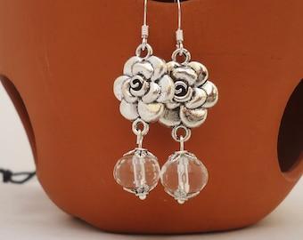 Clear Quartz Earrings, Flower Earrings, Gemstone Earrings, Bridal Earrings