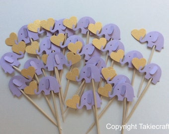24 Lavender/Lilac cupcake toppers Party Picks - Cupcake Toppers - Toothpicks - Food Picks