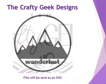 Wanderlust Mountains SVG File