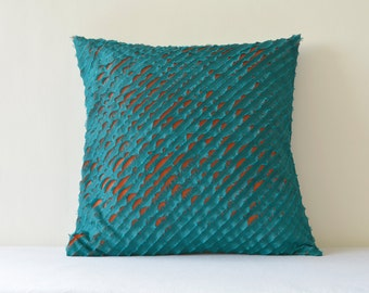 Teal & Orange , Frayed 2 Layer Faux Silk Cushion Cover , Teal Orange Textured Pillow Cover , Decorative Pillow Case,  Teal Throw Pillow