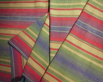 Guatemalan Hand Woven Fabric in Warm Variegated Stripes