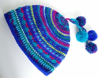 Colorful Crochet Mandala hat, Festival hat, trimmed with pom poms.  Hand made, adult size