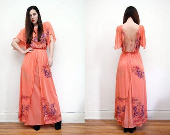 Vintage Oriental Floral Grecian Bohemian Drape Open Backless Cape Kimono Kaftan Sleeve Maxi Dress