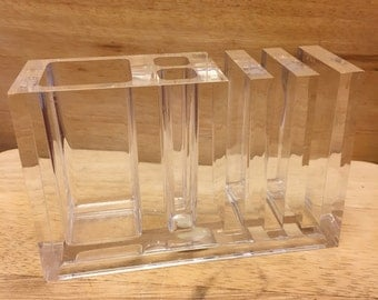 Vintage Acrylic Lucite Desk Organizer Made by Guzzini Italy 1970s
