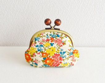 Frame purse -354- Liberty cottage floral Candy coin purse in Orange/Yellow