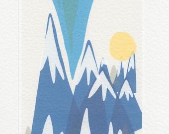 Mountain Print // A5 Small Digital Print // Minimalist Modern Art