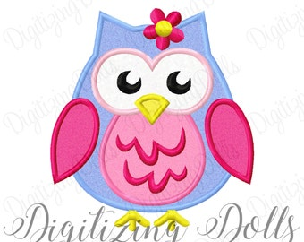 Girly Flower Owl Applique 2 Embroidery Design 4x4 5x7 6x10 Fall Euro INSTANT DOWNLOAD