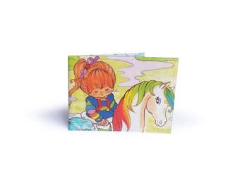 Rainbow Brite Oyster Card Holder - Upcycled book page in vinyl - travel wallet