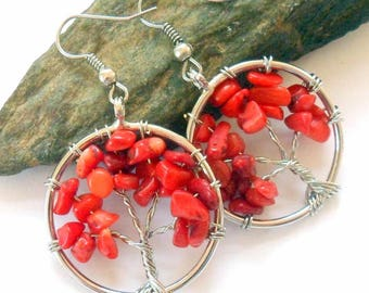 Red Coral Tree of Life Earrings earthegy #885
