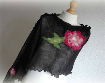 Linen Black Delicate Poncho   Knitted With Felt Flower Application Gifts Unique Art Eco Friendly Natural Organic