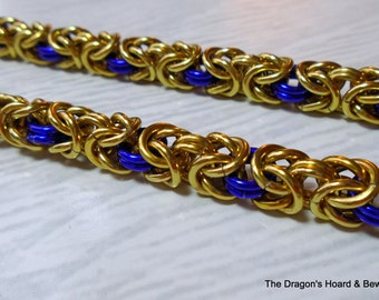 Byzantine Chainmaille Necklace - Gold & Purple