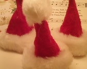 2 Miniature Santa Hat Craft Supplies Christmas Embellishment