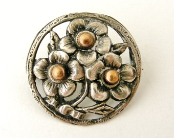 Delicate French silver flower brooch with rose gold