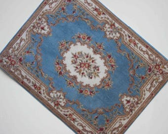 Miniature Sky Blue French Aubusson With Roses in Largest 1:12 or Playscale