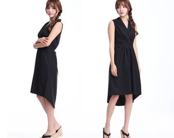 Loose-fitting Styles/ High-waisted Pleats Sleeveless Linen Long Drawstring Dress/ V neck/Pockets/ Knee/24 Colors/ RAMIES