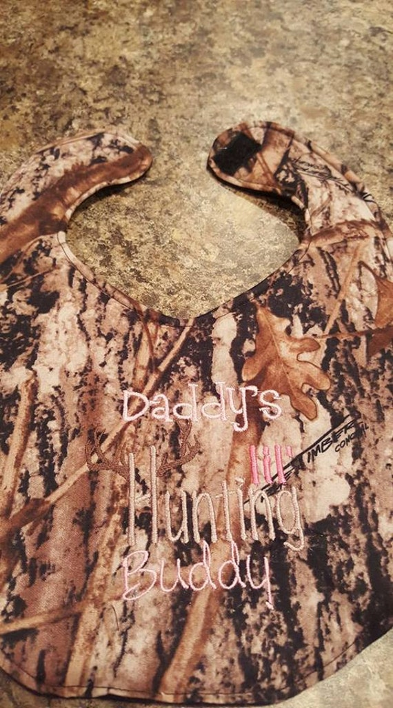 Camouflage Daddy's Little Hunting Buddy for Girl  Embroidery Handmade Baby Bib